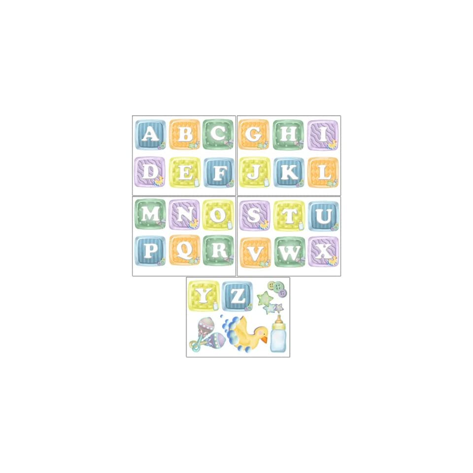 ABC Baby Blocks Wall Stickers (31) Alphabet Wall Decals for Baby Rooms