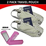 Travel Pouch Compact Security/ Hidden Money Waist Belt - 2 Pack + BONUS