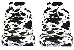 White Black Cow Animal Print Front Bucket Seat Cover w/ Headrest - Universal-Fit Set of 2