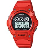 Casio #W214HC-4AV Mens Red Chronograph Alarm LCD Digital Sports Watch