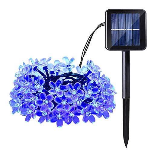 Qedertek Cherry Blossom Solar String Lights, 23ft 50 LED Waterproof Outdoor Decoration Lighting for Indoor/Outdoor, Patio, Lawn, Garden, Christmas, and Holiday Festivals (Blue)