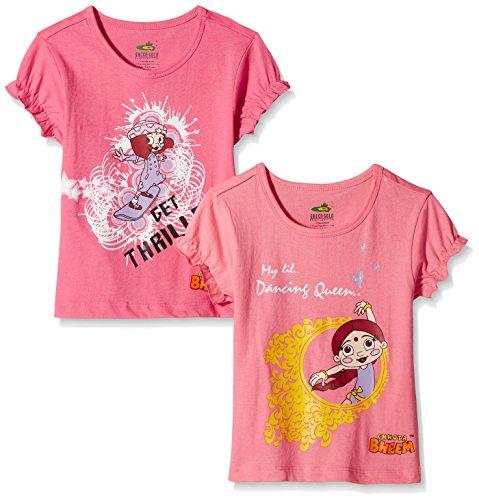 Chhota Bheem Girls' T-Shirt (Pack of 2) (GGAPP-CMB85D_Fuschia and Pink_7 – 8 years)