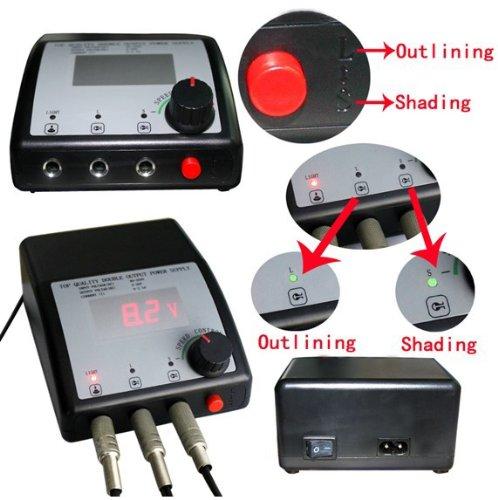 DUAL Digital LCD Tattoo Power Supply F needles/gun PLUG CORD tattoo source kit D010039