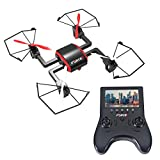 Focus FPV Drone with HD Camera 720p - RC Quadcopter with Headless Mode and Flip Mode (Black & Red) - Includes Extra Batteries for Drone and Controller