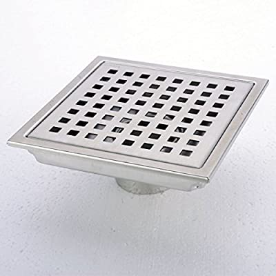 Square Shower Floor Drain with Tile Insert Grate - Made of Sus304 Stainless Steel , 6-inch
