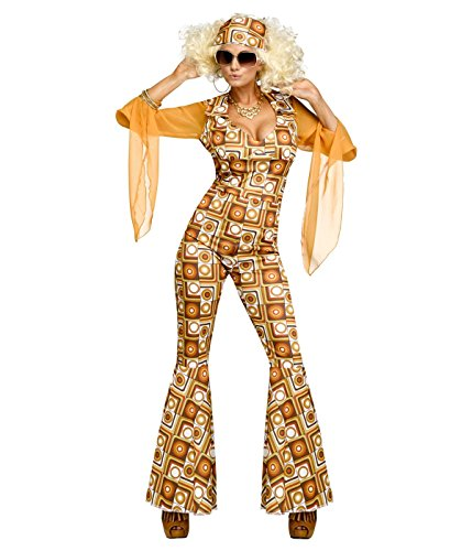 Disco Diva Ladies Fancy Dress Jumpsuit with Headscarf - Sizes 10-12 and 12-14