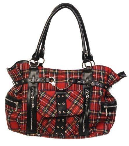 Red Tartan Bag Handbag Shoulder cross body school uni Bag by Banned Rockabilly Goth Punk