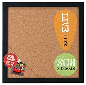 Malden Modern Graphics Corkboard Wood Picture Frame, Live Life with Purpose, Black
