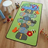 Superb Fashion Kids / Childs Play Rug Frog Green Hopscotch 0.8m x 1.5m (2'6 x 5' approx)