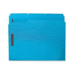 Sparco - Fastener Folders,w/ 2-Ply Tab,1/3 Ast Tab,50/BX,Ltr,Blue, Sold as 1 Box, SPR SP17267