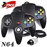 2 Pack Nintendo 64 Controller, iNNEXT Classic Wired N64 64-bit Game pad Joystick for Ultra 64 Video Game Console N64 System Mario Kart (Black)