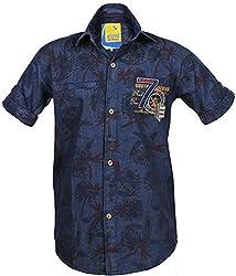 Kidzee 100% Cotton Stone Washed Denim Floral Print Fabric Half Sleeves Shirt