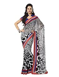 Prafful Gorgette Printed Saree With Unstitched Blouse - B00KNUPH8M