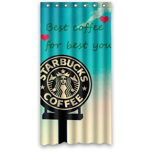 "Lovely Cartoon Starbuck Coffee Logo Green White Waterproof Poloyester Fabric Shower Curtain Size 36""X 72"" back-600398"