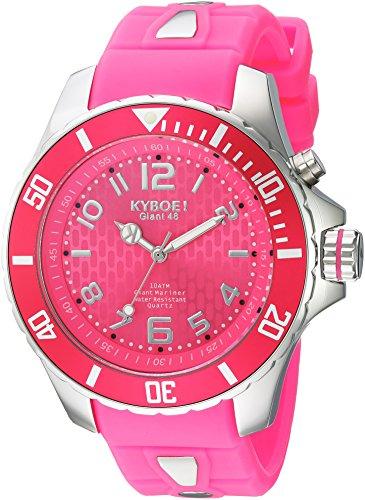 Kyboe. Silver Reloj analógico para mujer Quartz goma KY Rosa-044-48
