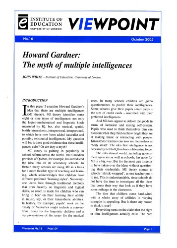 Howard Gardner: The Myth of Multiple Intelligences