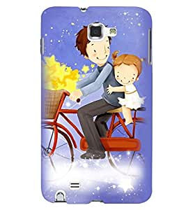 Printvisa Father Daughter On A Bicycle Back Case Cover for Samsung Galaxy Note 2::Samsung Galaxy Note 2 N7100