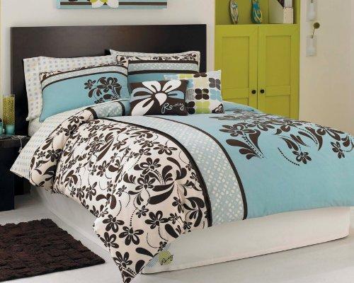 cheap blue and brown comforter sets roxy julia duvet. Black Bedroom Furniture Sets. Home Design Ideas