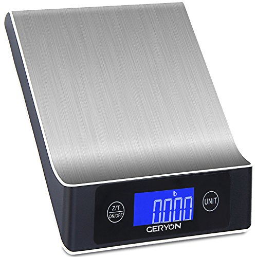스테인리스 다기능 디지털 주방 저울 Food Scale Geryon Stainless Steel Multifunction Digital Scale, 11lb/5kg Anti Cover 2.2 LCD Display, Black