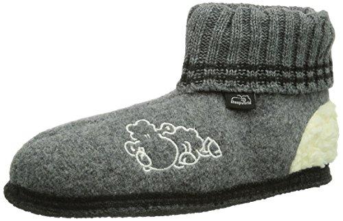 Sheepworld 250077, Pantofole alte Unisex - adulto, Grigio (Grau (grau)), 35 (3.5 uk)