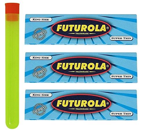 3 Packs - Futurola Blue King Size Rolling Papers w/ XL RPD Doob Tube (Futurola Rolling Machine compare prices)