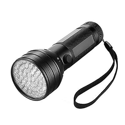 Turbot 51 LED Handheld UV Light Blacklight for Stain,Urine,Scorpion and Counterfeit Detection,Black