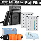 2 Pack Battery And Charger Kit For Fujifilm FinePix XP60, XP70, XP80 Waterproof Digital Camera Includes 2 Replacement (1000Mah) For Fuji NP-45A, NP-45s Batteries + Ac/Dc Charger + Float Strap + More