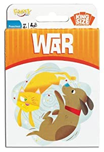 POOF-Slinky 0X8-3204 Ideal War Card Game with King-Size Cards and Colorful Illustrations, 52-Cards by Ideal TOY (English Manual)