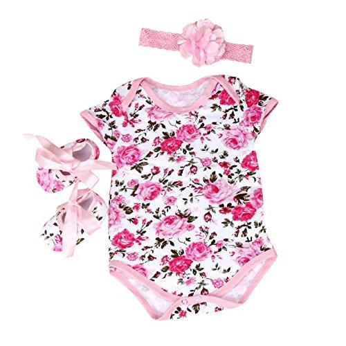 Fheaven Baby Girl 3pcs Floral Romper Bodysuit headband Shoes Sets Clothes (S, Pink)