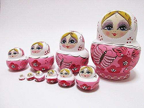 マトリョーシカ 人形 10重 花柄 蝶 模様  【 インテリア 雑貨 プレゼント 子供 の遊び 】 【 カラー ピンク 】