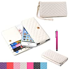 buy Iphone 6 Case,Jcmax High Grade Pu Wallet Leather Case With Noble Stylus Graphic Flip Folio Magnetic Cover [Built In Stand] [2 Layer Protective] Super Fitted Skin For Iphone 6 - White