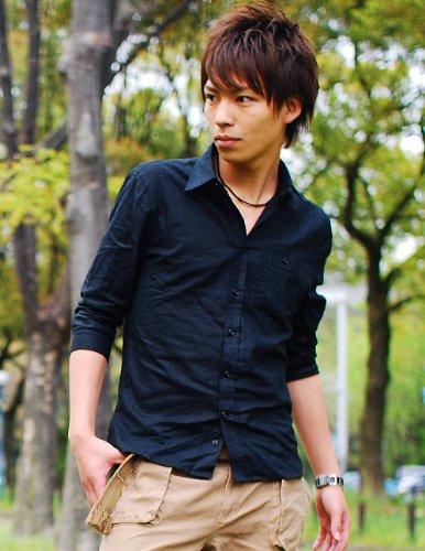 (スペイド) SPADE シャツ メンズ 麻素材 半袖 カジュアル 綿麻 七分袖 白 ホワイト【q548】