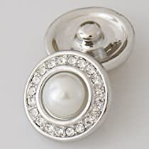 20mm Pearl and Rhinestones Metal Chunk Snap Charm