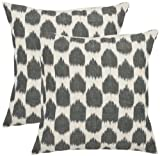 Safavieh Pillow Collection Stone's Throw 18-Inch Decorative Pillows, White and Charcoal Grey, Set of 2