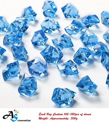 A&S Creavention Translucent Acrylic Ice Rocks Crystals Gems for Vase Fillers, Table Scatters, etc. 300g/Bag 150-160rocks (Royal Blue) (Crystal Ice Weight compare prices)