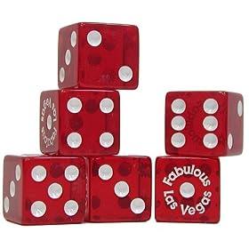 Trademark Poker Fabulous Las Vegas Dice - Standard 6 Number Dice (Red)