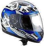 Protectwear SA03-BL-S Kinder Motorradhelm, Integralhelm, Größe S, Blau/Weiß