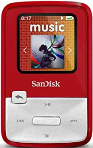 SanDisk Clip Zip 4GB MP3 Player with FM Radio - Red