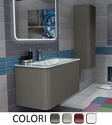 Mobile Arredo Bagno Liverpool sospeso 94 cm 4 colori lavabo in cristallo bianco Mobili
