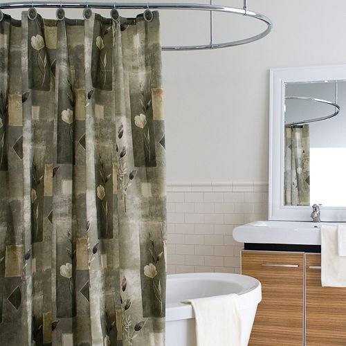 Playa Modern Romantic Floral Fabric Shower Curtain Sage Green Khaki Ivory