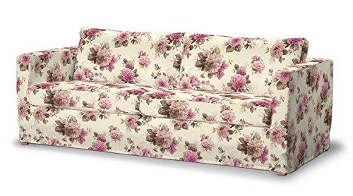Dekoria Fire Retardant IKEA sol Longueur de Karlstad Housse de Canapé 3Places–Rose & Beige Roses