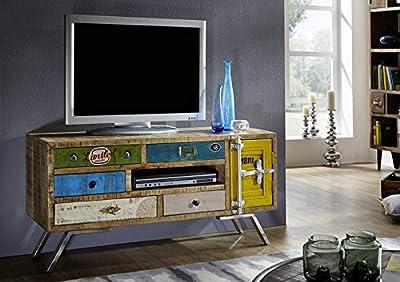 Massivmöbel Mango Eisen massiv Holz TV-Board Industrial-Stil Massivholz Mangoholz Möbel massiv mehrfarbig lackiert Liverpool #20