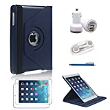L&F 360 Degrees Ultra Slim Rotating Stand Leather Case Cover for Apple iPad mini & iPad Mini 2 with Retina Display 7.9 inch Tablet With Auto Wake / Sleep Feature 5 in 1 Accessory Bundle for Business and Travel use. (Dark blue 5in1 For iPad Mini 1st/2nd)