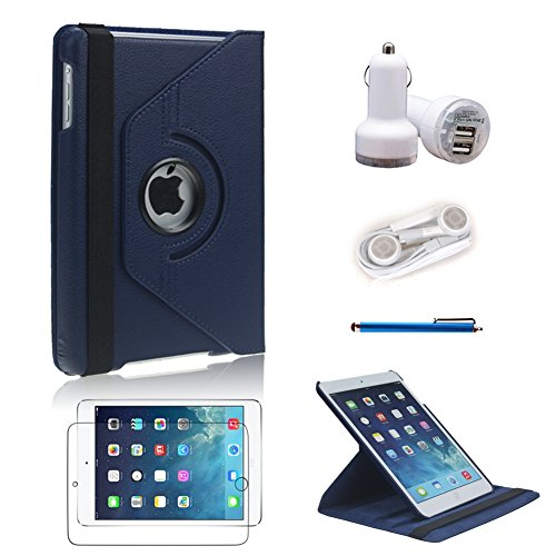 L&F 360 Degrees Ultra Slim Rotating Stand Leather Case Cover For Apple Ipad Mini & Ipad Mini 2 With Retina Display 7.9 Inch Tablet With Auto Wake / Sleep Feature , 5 In 1 Accessory Bundle For Business And Travel Use. (Dark Blue 5In1, For Ipad Mini 1St/2Nd