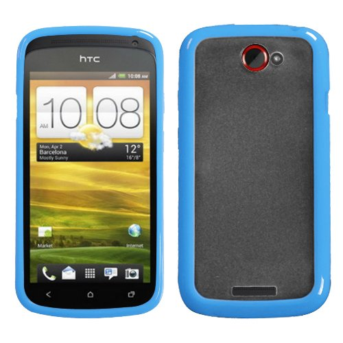 Mybat Htconescaskgm0056Np Sensual Gummy Transparent Protective Case For Htc One S - 1 Pack - Retail Packaging - Clear/Solid Baby Blue front-881197