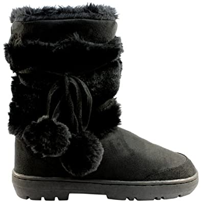 Amazon.com: Womens Pom Pom Fully Fur Lined Waterproof