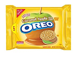 Nabisco, Oreo, Limited Edition, Caramel Apple Creme Filled Golden Sandwich Cookies, 12.2oz Bag (Pack of 4)