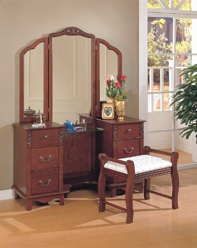 Dressing table mirrors cherry brown finish wood large for Brown vanity table