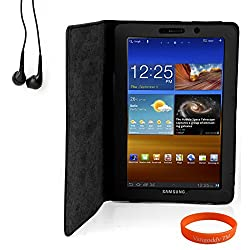Luxmo Black Tablet Case + Black Matching Ear Buds + Neon Orange Vangoddy Wrist Band