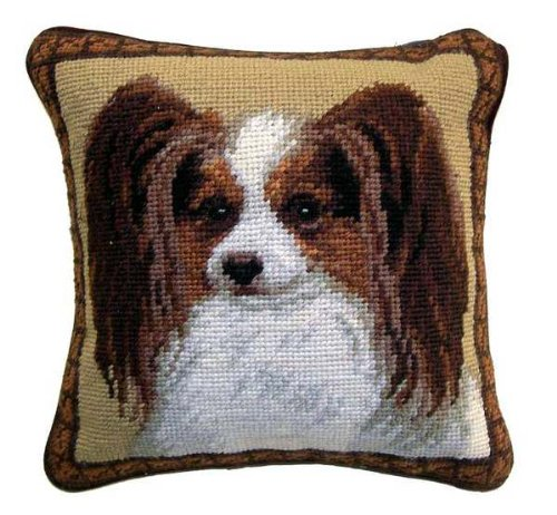 Papillon Dog Needlepoint Throw Pillow 10